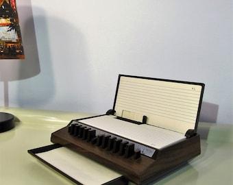 Vintage Memo Holder Flip Up Telephone Address Index Rosewood Look Brown Faux Wood 70s