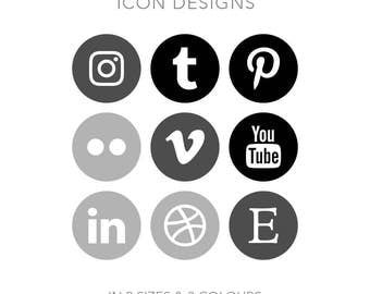 19 Circle Social Media Buttons - Instant Download - Black Greyscale Pack