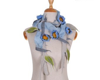 SALE!!! elegant felt, felted necklace, collar, jewerly, gorget, neckwear, fairy floral light blue with flowers, gift - by inmano