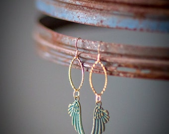 Maggie Earrings: Dangly verdigris angel wings on golden brass marquise links on gold filled ear wire