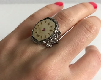 Vintage heavy silver watch adjustable ring