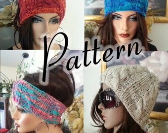 PDF Pattern Knitted Cat Ears Hat, Beanie and Earwarmers, One Pattern 3 Styles