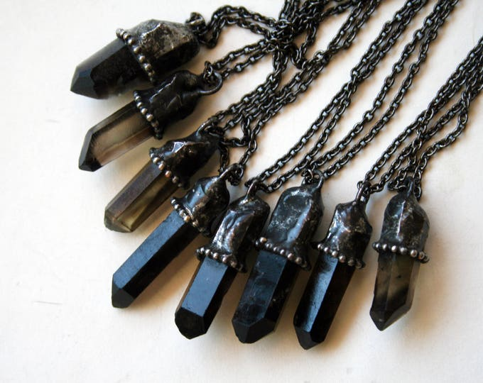 Small Smoky Quartz Crystal Necklace // Petite Black Dark Smoky Quartz Crystal Point Minimal Layering Necklace