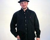 90s Black Ralph Lauren Button Down Shirt, Button Down Polo Shirt, RL Button Down, Black Button Down Cotton Shirt, XL