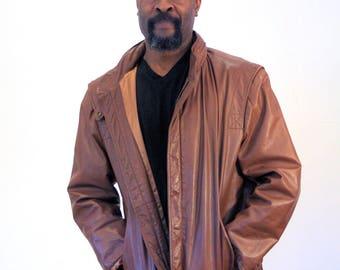80s Bill Blass Leather Jacket, Brown Leather Jacket, Motorcycle Jacket, Moto Jacket with Rain Hood, Designer Leather Jacket, L