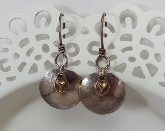 EARRINGS Sterling Silver and Bronze Mixed Metal Dapped Disc