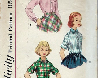 """Vintage 1960's Simplicity 2207 Girl's Blouse Long or Short Sleeves Sewing Pattern Size 6 Breast 24"""""""