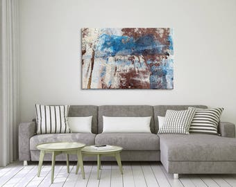 Blue and brown abstract photography on canvas - Large wall hanging decor - ready to hang - Modern home decor