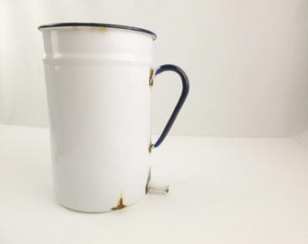 White Enamelware Container With Handle and Built-in Drainage - Gardening - Farmhouse Chic