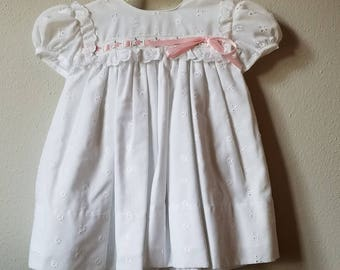 Vintage Girls White Eyelet Lace Dress with Pink Ribbon and Bloomers- Size 6 months- new, never worn