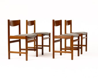 Danish Modern / Mid Century Teak Dining Chairs by Dalescraft — Grey Textile — Set of Four