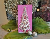 Clearance Coastal Christmas Shell Tree on Wood Plaque, Pink Shell and Crushed Glass Beach Christmas Tree, Alternative Tree, Shell Art
