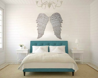 Angel Wings Wall Art, Wood Base Carved Look Angel Wings Sculpture, Architectural Decor, Angelic Choose Your Color White, Gold, Silver
