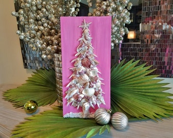 Coastal Christmas Shell Tree on Wood Plaque, Pink Shell and Crushed Glass Beach Christmas Tree, Alternative Tree, Shell Art