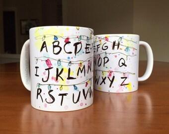 CUSTOM LISTING - Stranger Things Mug, 15oz, Stranger Things Alphabet Wall, Ceramic Mug, Stranger Things Cup, Christmas Gift