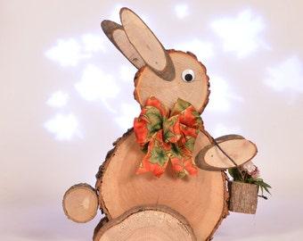 Rustic log slice rabbit, log easter bunny, wooden rabbit, standing rustic wooden bunny