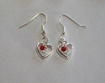 Cute Red Rhinestone Heart Earrings