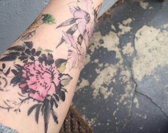 Watercolour Temporary Tattoos - 6 Watercolour floral Temporary Tattoos  - Watercolour - Watercolour Art - Flower Temporary Tattoo
