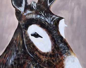 Large scale portrait of Donkey by artist Natalie Jo Wright Acrylic painting on Reeves BFK paper. Original Art.