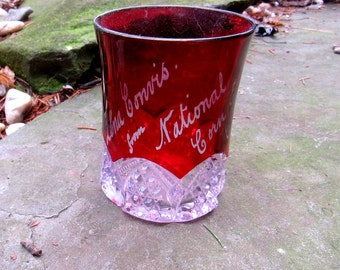 national corn expo chicago 1907 ruby cut to clear souvenir glass, tumbler, lena conirs