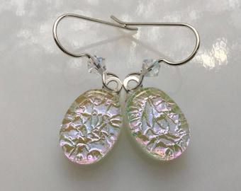 Dichroic Earrings, Fused Glass Jewelry, Silver Pink Swarovski Crystal French Hook Earrings