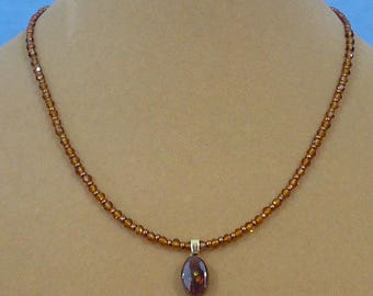 "Delicate 16"" Fire Agate Pendant Necklace - N497"