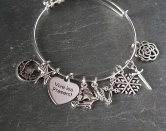 Outlander jewelry, Outlander bracelet, Outlander gift, scottish thistle charm bracelet, expandable charm bracelet, literary charm bracelet