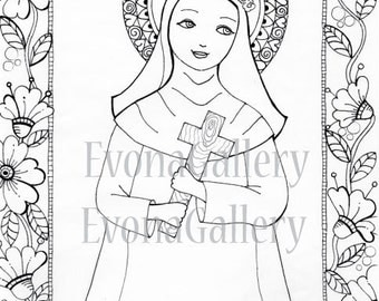 INSTANT DOWNLOAD Digi 1 Coloring page , Digital Image St. Rosa de lima ~ Image No. 4 by Evona