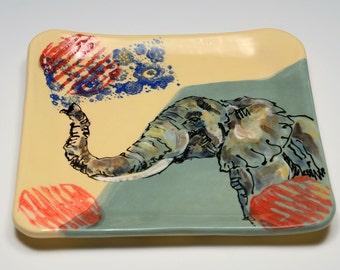 A Decorative Arts Plate, Handmade Ceramic Plate, Handmade Pottery, Elephant and Pattern, Living Large