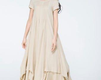 plus size linen, maxi linen dress, linen tunic, loose dress, loose fit dress,  maxi dress, plus size tunic, floor length dress   C1071