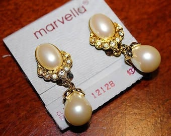 MARVELLA Designer Couture High End NOS Faux Pearls Rhinestone Pave Earrings EM2