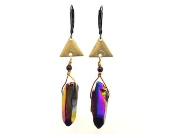 Rainbow Aura Quartz Earrings | Titanium Quartz Earrings | Triangle Earrings  | Geometric Earrings | Brass Earrings | Leverback Earrings