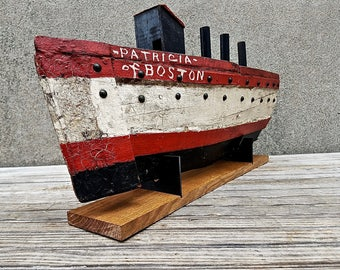 "Antique Folk Art Hand Carved Steamship ""Patricia of Boston"""