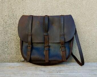 Vintage WWII Era Leather Possibles Bag Ammo Pouch Shoulder Bag or Purse