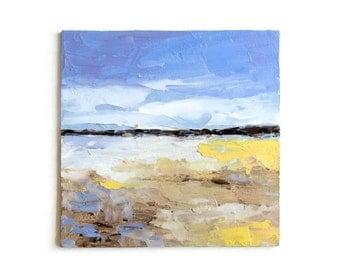 "Oil Painting Sea Beach Seascape Ocean Wave Original Abstract Art Textured Impasto Palette Knife Mini Small 6x6"" Canvas Panel Framed Option"