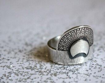 custom sterling silver sun moon ring, NOKOMIS, made to order engagement ring, prehispanic design silver ring