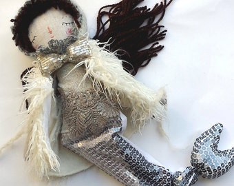 Snow Mermaid Doll, Little Mermaid, Rag Doll, OOAK Doll, Cloth Art Doll, Heirloom Doll, Gift for Girls