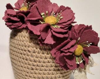 Mulberry Purple Felt Flower Headband //Fascinator, Crown, Poppy, Lace
