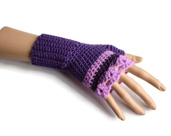Purple Fingerless Gloves - Purple Gloves - Purple Striped Gloves - Gifts for Her - Gifts for Mum - Useful Gifts - Vegan Friendly