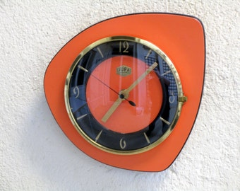 RESERVED FOR T - French 1950-60s Formica - Atomic Age ORANGE Wall Clock - Formica Vintage Clock - Orange Clock - Good Working Condition
