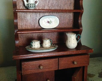 Vintage Doll House Miniature Dining Room Wooden Hutch Cabinet Display Case Old Tiny Toy Furniture  Children's Plaything Collectible