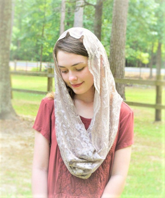 Soft Tan Infinity Chapel Veil | Catholic Mantilla Catholic Chapel Veil Robin Nest Lane Tan Veil for Mass Veil Beige Brown Church Veil Taupe