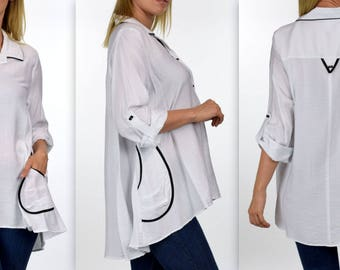 Stylish and Artsy Blouse,Designer Shirt,Plus size and Regular size lagenlook Shirt  from S to 3XL.