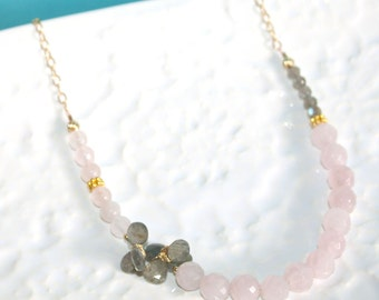 OOAK Faceted Rose Quartz and Fire Labradorite Cluster 14K Gold Fill Necklace by Kaya Jewelry, Asymmetric Necklace, Statement Necklace, Gift