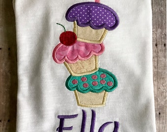 Cupcake Birthday Shirt - Personalized Girls Cupcake Birthday Shirt - Cupcake Tower Birthday Shirt