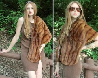 "Vintage REAL FUR Stole Shawl JACKET Autumn Haze Soft Squirrel - Mink ""Mitchell Fur Co."" Woman Mod Glam Furs Fall Winter Wrap Dress Shrug Top"