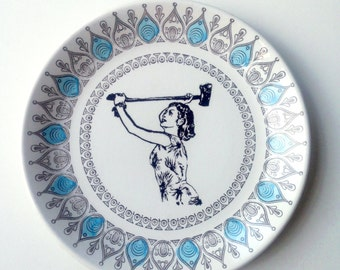 Vintage Victorian Plate Crazy Axe Lady Altered Art 'domestic goddess'