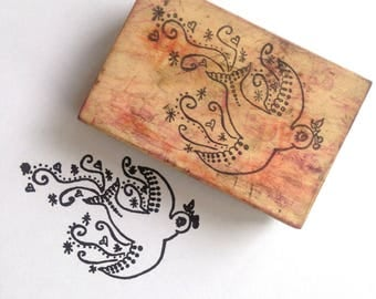 Destash Wooden Rubber Stamp Songbird bird