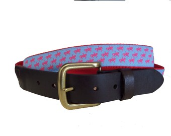Equestrian Leather Belt / Sports Belt / Preppy Webbing Belt Men, Women and Children/Equestrian Horse Ribbon on Red Webbing