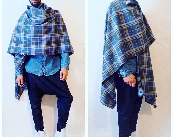 Plaid Ponacho Light Weight Wool Traditional Plaid Cape Ponacho Cloak